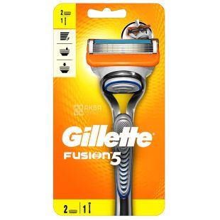 Gillette, 1 шт, Бритвенный станок, 5 лезвий, 2 сменные кассеты, Fusion5