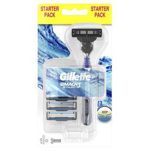 Gillette, Бритва 1 шт., Со сменными лезвиями, 3 сменных кассеты
