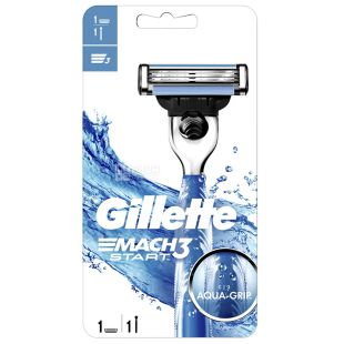 Gillette, Бритва 1 шт., Со сменными лезвиями, Mach3 Start 3 лезвия