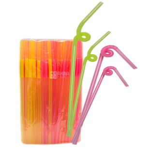 Микспак, Трубочки для напитков с длинной гофрой, люминесцентная, 28 см, 100 шт.