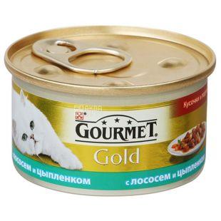 Gourmet Gold, Корм с лососем и цыпленком, для взрослых котов, 85 г