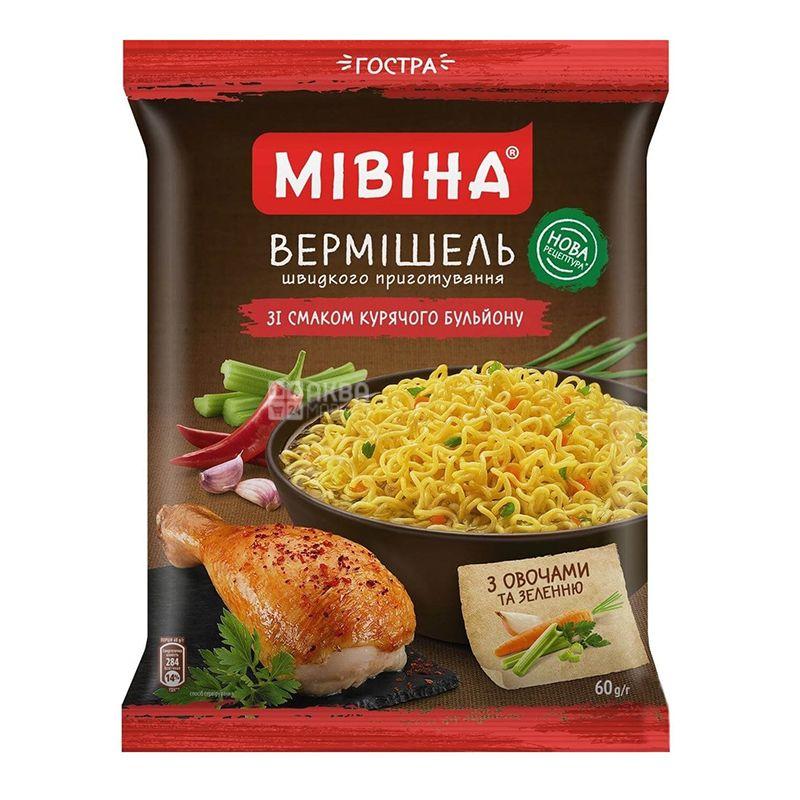 Мивина, Вермишель со вкусом куриного бульона, острая, 60 г