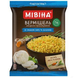 Мівіна, Вермішель зі смаком сиру і зелені, негостра, 60 г