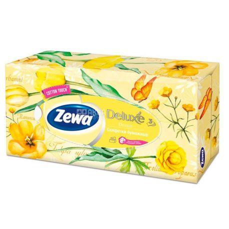 Zewa Deluxе, 90 шт., Салфетки универсальные Зева Делюкс, 3-х слойные, 20х20.8 см, белые