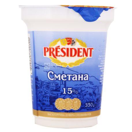 President, Сметана, 15%, 350 г