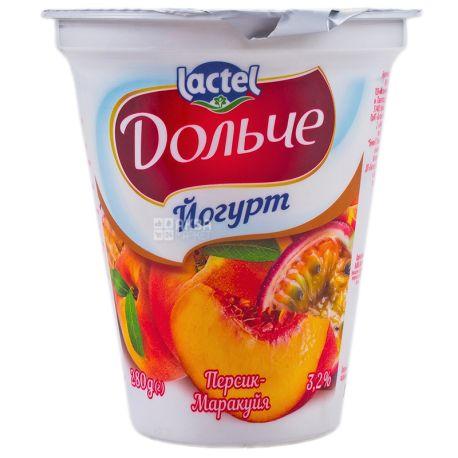 Дольче, Йогурт персик-маракуйя 3,2%, 280 г