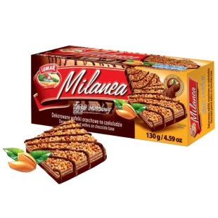 Lumar Milanea, Вафлі, Тайгер з декором з горіхів і шоколаду 130 г, ТМ Lumar