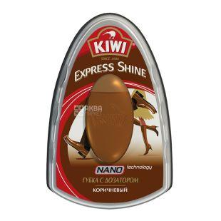 Губка для обуви, с дозатором, коричневая, 6 мл, ТМ KIWI Express