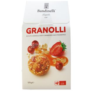 Bandinelli Granolli, Cookies with Cranberries and Strawberries, 125 g