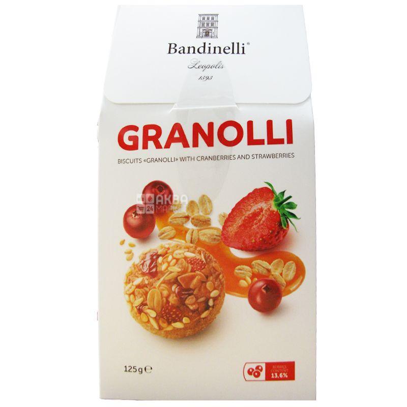 Bandinelli Granolli, Печенье с клюквой и клубникой, 125 г