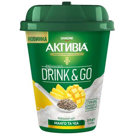 Активиа, Бифидойогурт питьевой с манго и чиа, 1,5%, 315 г