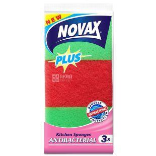 Novax, Губки кухонні антибактеріальні, 3 шт