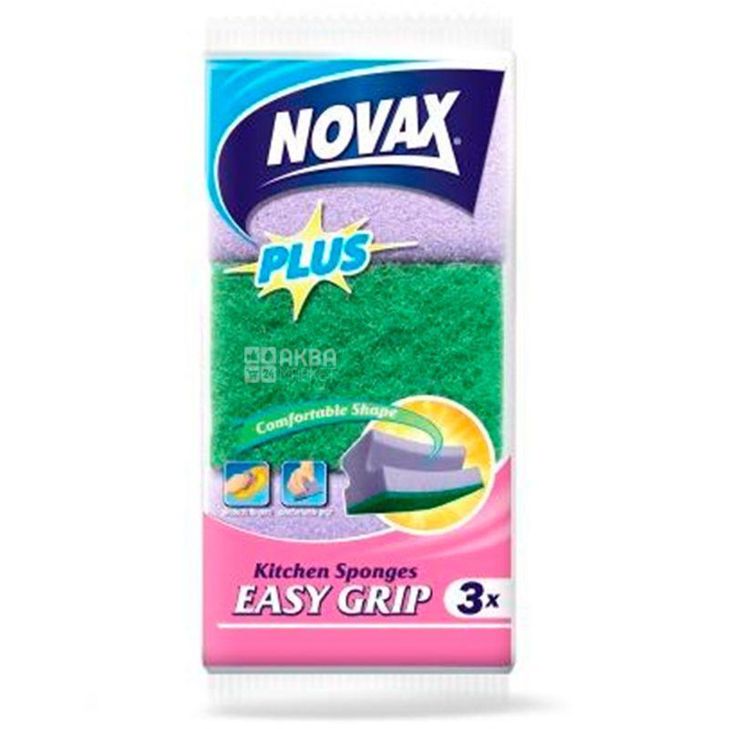 Novax, Губки кухонные профилированные, 3 шт