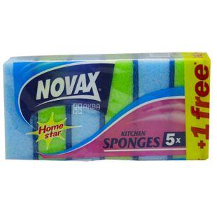 Novax, Губки кухонні, 5+1 шт, 95х63х37 мм