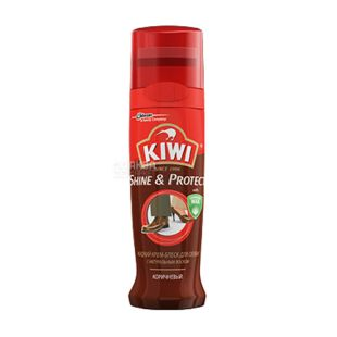 Shoe polish, liquid, brown, 75 ml, TM KIWI