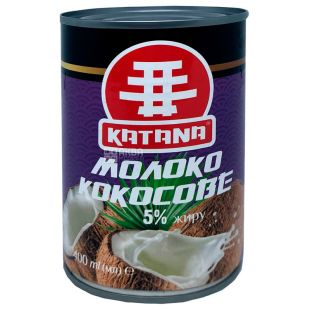 Katana, Кокосове молоко, 5%, 400 мл, Катана, рослинне молоко, без глютену, ж/б
