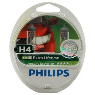 Philips Extra Lifetime, Автолампа галогенна, 60/55 ВТ, H4, 12 V, упаковка 2 шт