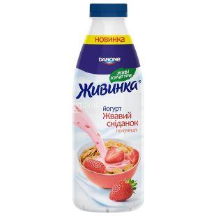 Danone Живинка, Йогурт питьевой, Клубника, 1,5%, 850 мл