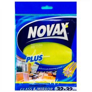 Novax Plus, Салфетка для стекол и зеркал, 32x32 см, микрофибра