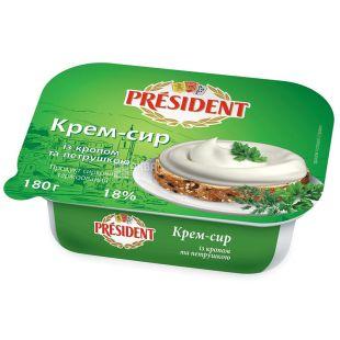 Президент, Крем-сыр с укропом и петрушкой, 18%, 180 г