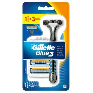 Gillette Blue3, Бритва, 3 леза, 3 змінних картриджа