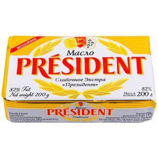 President масло кислосливочное несоленое, 82%, 200г