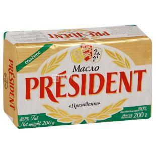 President масло кислосливочное соленое, 82%, 200г