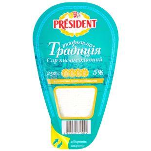 President, Творог кисломолочный Творожная традиция, 5 %, 250 г