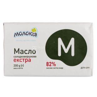 Молокия масло сладкосливочное экстра, 82%, 200г