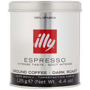 illy Espresso Dark, Кофе молотый в железной банке, 125 г
