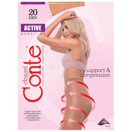 Conte Active, Колготи жіночі, тілесні, 2 розмір, 20 ден