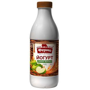 Ферма, Йогурт Злаки-Яблоко, 0,8%, 900 г