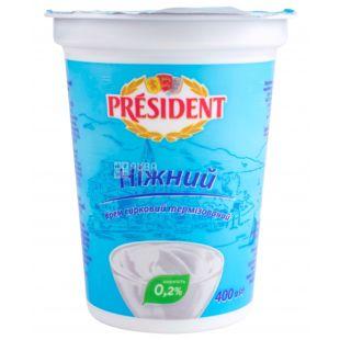 President, Крем творожный нежный 0,2%, 400 г