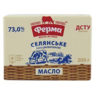 Ферма, Масло сливочное, селянское, 73%, 200 г