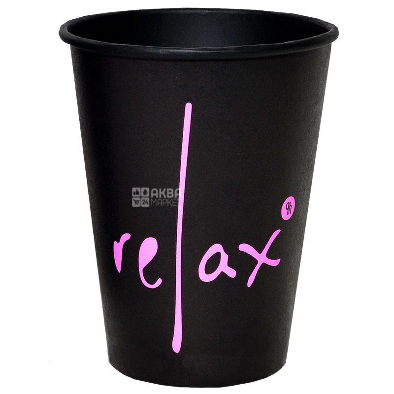 Стакан бумажный Relax черный 400 мл, 50 шт.