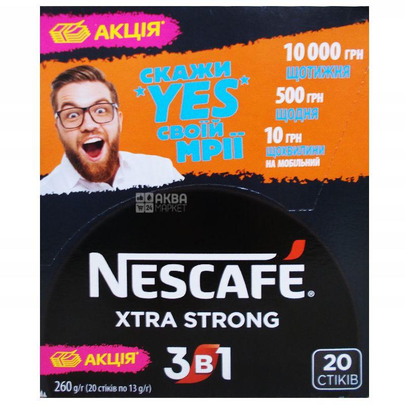 Nescafe Xtra Strong 3 в 1, 20 шт. х 13 г, Кофейный напиток Нескафе Экстра Стронг, растворимый, в стиках