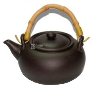 Olens, Чайник из глины с бамбуковой ручкой, черное золото, 950 мл