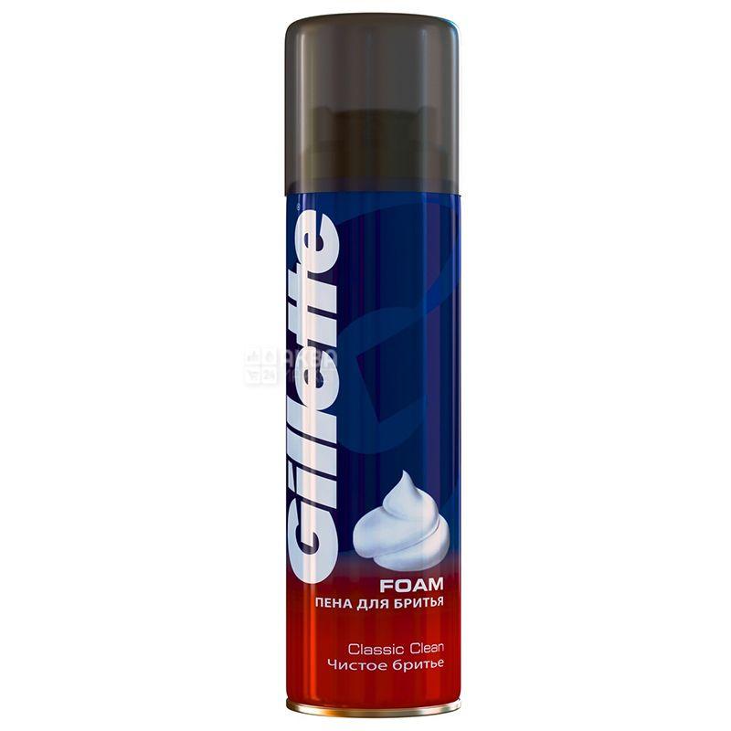 Gillette Foam Classic Clean, Пена для бритья, Чистое бритье, 200 мл