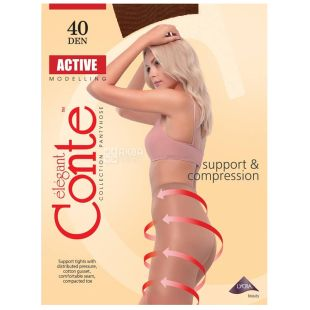 Conte Active, Колготки женские мокко, 3 размер, 40 ден