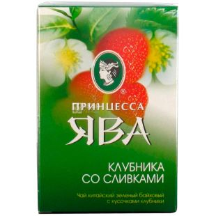 Princess Java Strawberry and Cream, Green Tea, 85 g