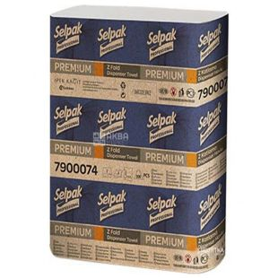 Selpak Pro Premium, 200 аркушів, Паперові рушники Селпак Преміум, 2-шарові, Z-складання, 21.5х24 см