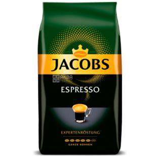 Jacobs Espresso, 1 кг, Кофе Якобс Эспрессо, темной обжарки, в зернах