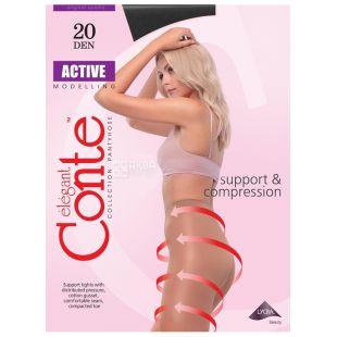 Conte Active, Колготки женские чёрные, 2 размер, 20 ден