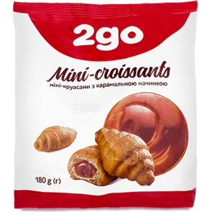 Mini croissants with caramel filling, 180 g, TM 2go