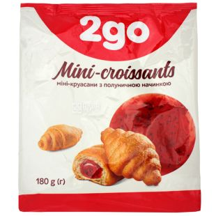 Mini croissants with strawberry filling, 180 g, TM 2go