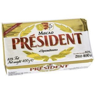 President, Масло сливочное, 82%, 400 г