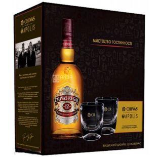 Chivas Regal, Набор виски 12 лет, 40%, 0,7 л + 2 эксклюзивных стакана