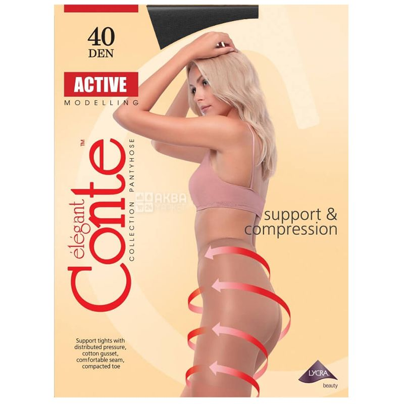 Conte Active, Black tights for women, size 3, 40 den
