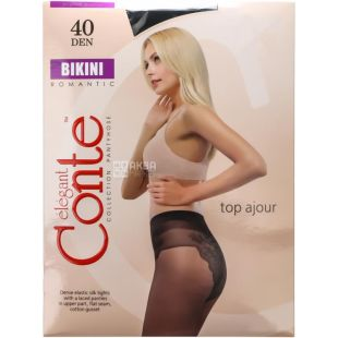 Conte Bikini, Колготки жіночі чорні, 3 розмір, 40 ден