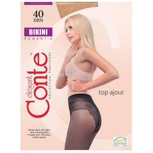 Conte Bikini, колготи жіночі тілесні, 4 розмір, 40 ден